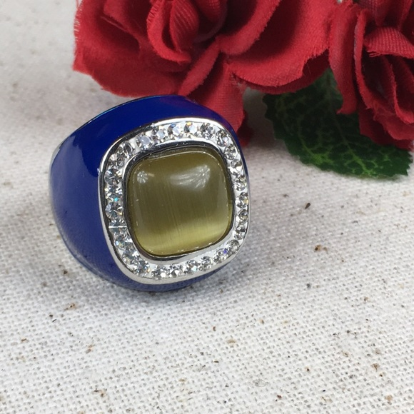Kaki Jo's Closet Jewelry - Simulated Cats Eye Blue Enamel Stainless Ring